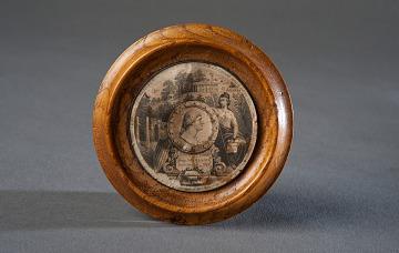 Wooden George Washington plaque from James Crutchett's Mount Vernon Factory, Washington, D.C., 1852