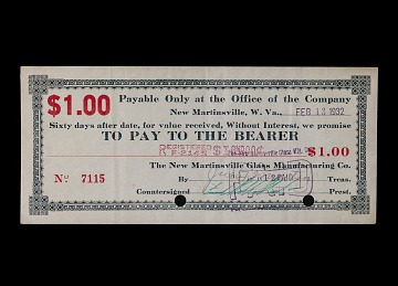 1 Dollar New Martinsville Glass Manufacturing Co. Note, 1932
