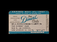 Diners' Club Australia Credit Card, United States, 1957