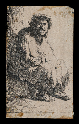 Beggar seated on a bank (copy)