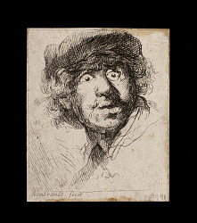 Rembrandt in cap, open mouthed