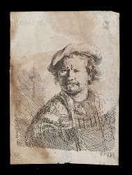 Self-Portrait in a Flat Cap with a shawl about his shoulders