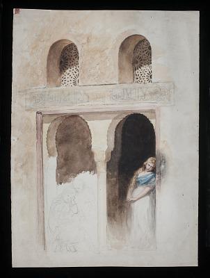 Moorish Arcade with Figures