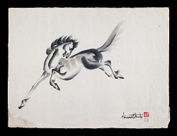 sumi-e painting of leaping horse