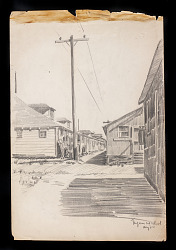 pencil drawing of camp buildings