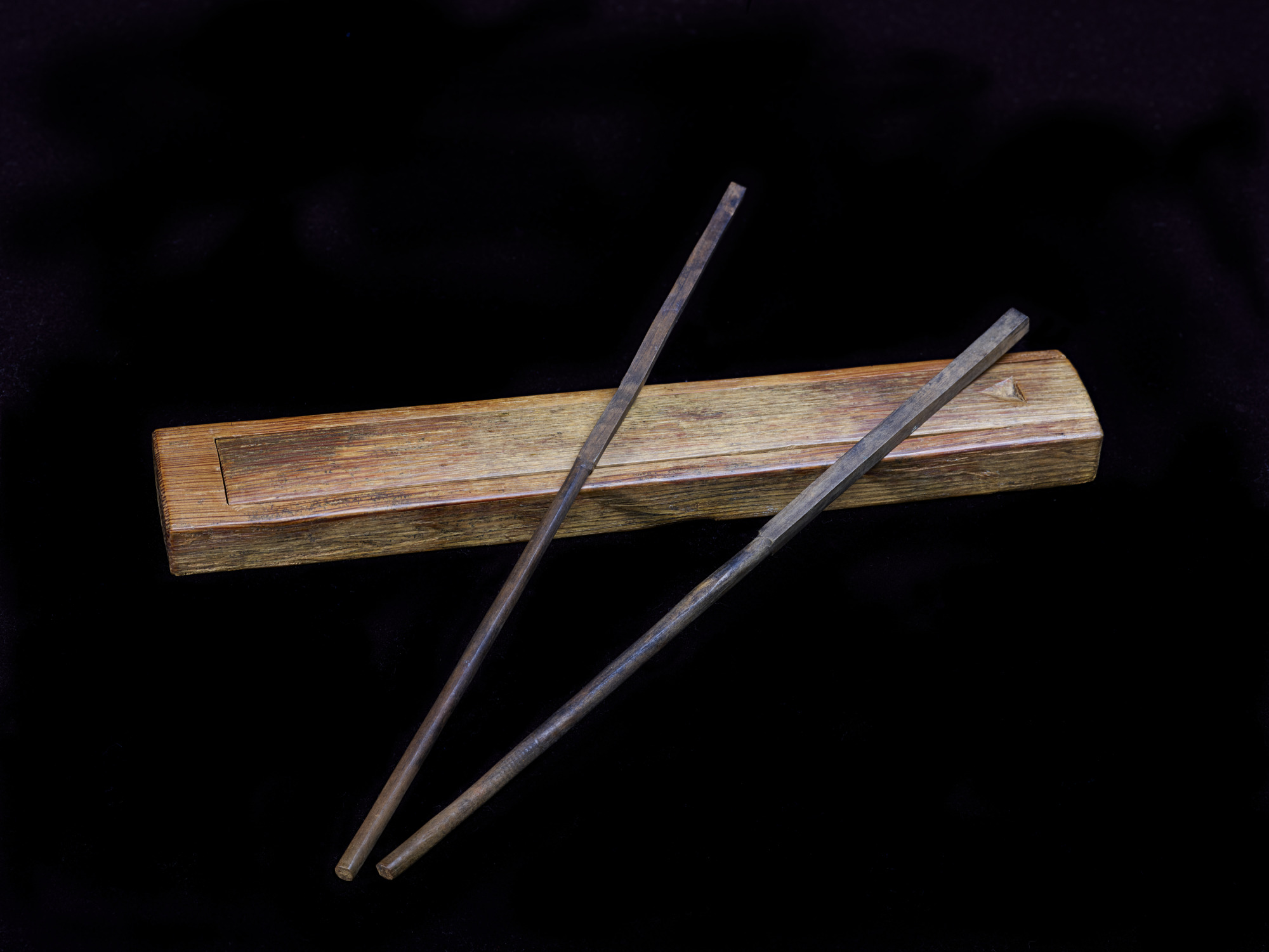 Chopsticks in case used by workers alogn the Transcontinental Railroad.
