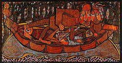 The Fisherman and the River Goddess with his Captured Multi-Colored Fishes and the River Night Guard