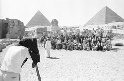 American tourists, Pyramids of Giza, Egypt, [negative]