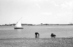 Felucca on the Nile. Nile Delta region, Egypt, [negative]
