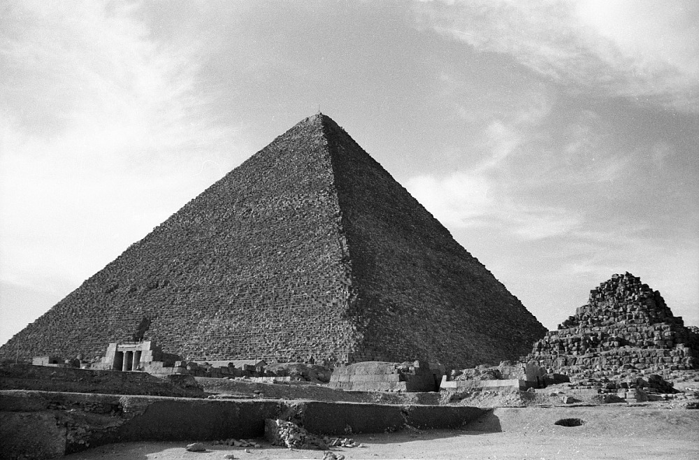 images for The pyramid of Khufu. Pyramids of Giza, Egypt, negative