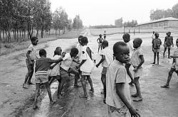 Joseph Mokobi playing soccer, Bunia, Congo (Democratic Republic), [negative]