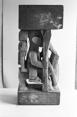 Warrior on horseback, a sculptor work in progress, Ibadan, Nigeria, [negative]