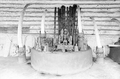 Ancestral shrine, House of the Oba, Benin City, Nigeria, [negative]
