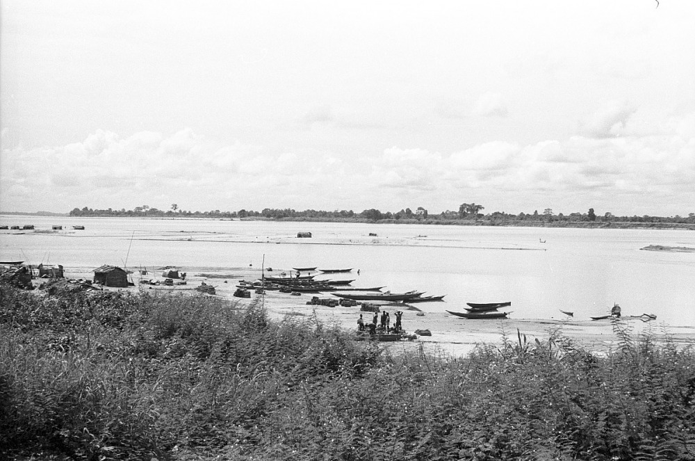 Temporary shelters by the Benin River, near Benin City, Nigeria
