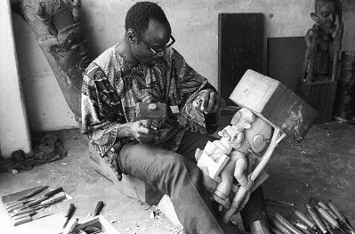 Lamidi Olonade Fakeye, at work, Ibadan, Nigeria, [negative]
