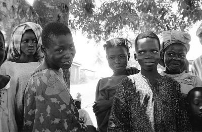 Yoruba girls with facial scarifications, Meko, Nigeria, [negative]