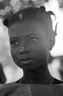 Yoruba girl with facial scarifications, Meko, Nigeria, [negative]