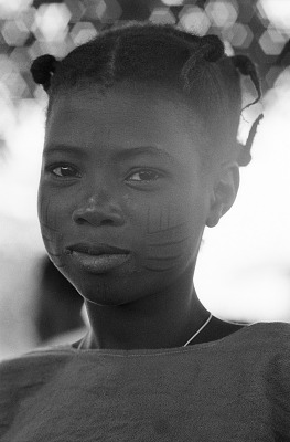 Yoruba girl with facial scarifications, Meko, Nigeria, [negative]