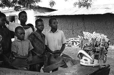 Display of Gelede headdress, Meko, Nigeria, [negative]