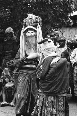 Masked dancers during a Gelede performance, Meko, Nigeria, [negative]