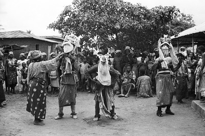 Masked dancers during a Gelede performance, Meko, Nigeria, [negative]