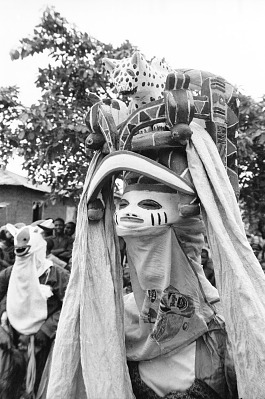 Masked dancer during a Gelede performance, Meko, Nigeria, [negative]