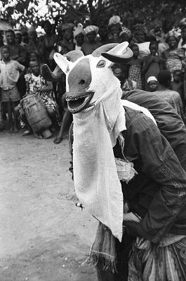Masked dancer during a Gelede performance, Meko, Nigeria, [negative]