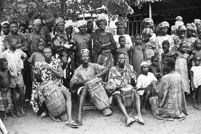 Musicians accompanying a Gelede performance, Meko, Nigeria, [negative]