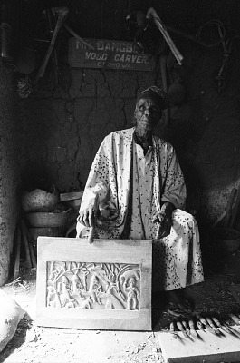 Yoruba sculptor Bamgboye in his studio, Odo-owa, Nigeria, [negative]