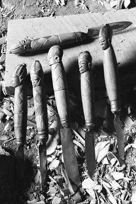Sculpture tools belonging to Yoruba artist Bamgboye, Odo-owa, Nigeria, [negative]