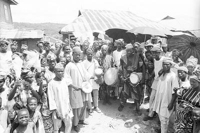 Yoruba musicians performing drums at a community festival, Effon-Alaiye, Nigeria, [negative]