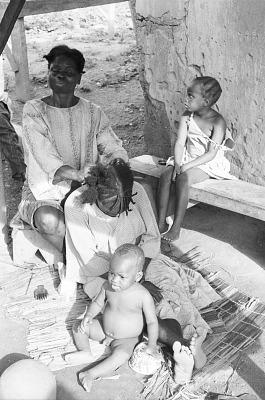 Woman's hair dressing, Ife, Nigeria, [negative]