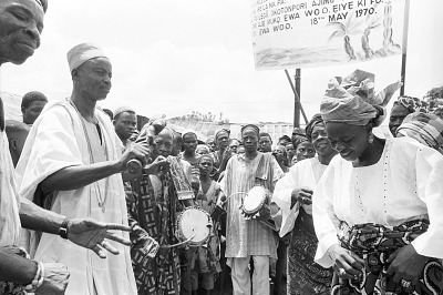 Representatives of cult groups and women worshippers attenting a community festival, Ede, Nigeria, [negative]