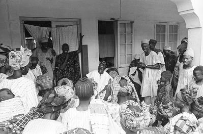 Women of the community singing for John Adetoyese Laoye I, Timi of Ede, Ede, Nigeria, [negative]