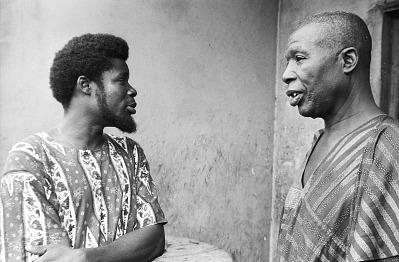 Latifu Awoyale in conversation with a guest, Ibadan, Nigeria, [negative]