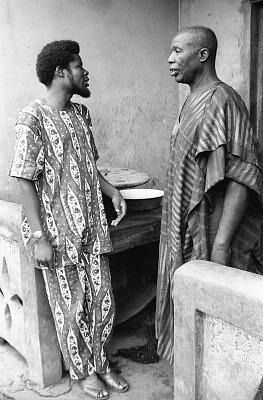 Latifu Awoyale in conversation with a guest, Ibadan, Nigeria, [negative]