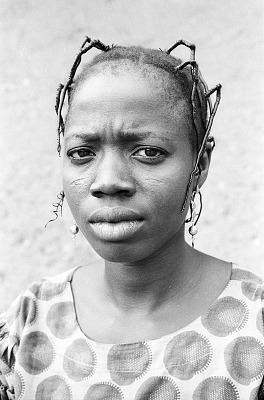 Yoruba woman with elaborate hairstyle, Ife, Nigeria, [negative]