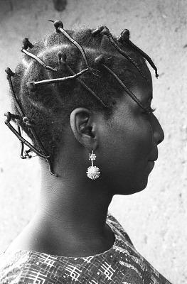 Yoruba women with hair wrapped in black thread, Ife, Nigeria, [negative]