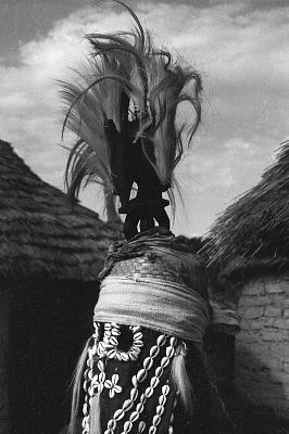 Masked performer wearing vertical Chi wara headdress, Bougouni village, Mali, [negative]