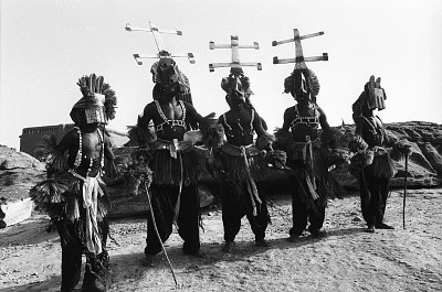 Kanaga and dyomo masqueraders during the Dama ceremony, near Sanga, Mali, [negative]