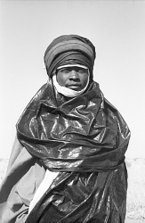 Tuareg man wearing turban and face veil, Chadawanka village, Niger, [negative]
