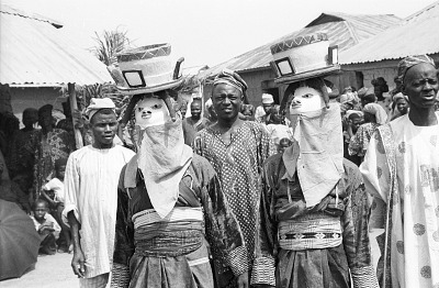 Masked dancers during a Gelede performance. Meko, Nigeria, [negative]