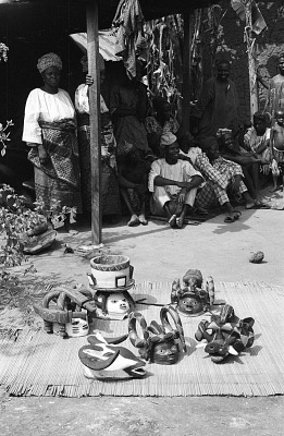Gelede headdresses. Near Meko, Nigeria, [negative]