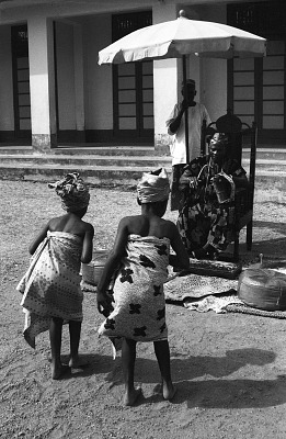 Two girls dancing for John Adetoyese Laoye I, Timi of Ede. Ede, Nigeria, [negative]