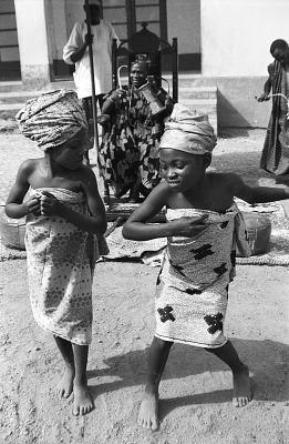 Two girls dancing for John Adetoyese Laoye I, Timi of Ede. Ede, Nigeria, [negative]