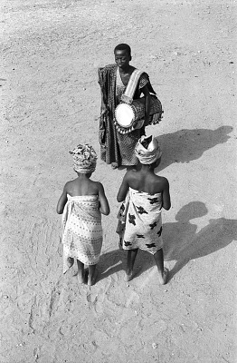 Drummer and dancers performing for John Adetoyese Laoye I, Timi of Ede. Ede, Nigeria, [negative]
