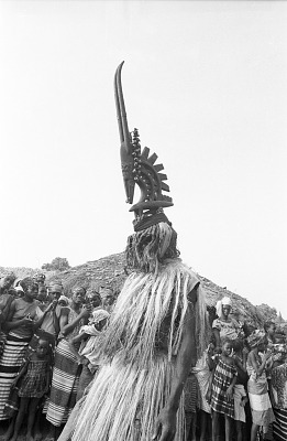 Masked performer wearing male Chi wara headdress, Bamako (national district), Mali, [negative]