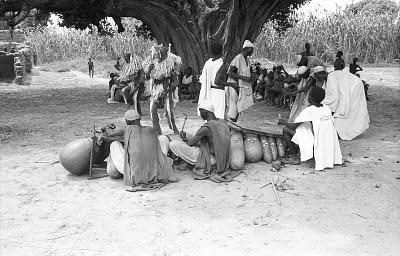 Masked performers and musicians. Bin village, Mali, [negative]