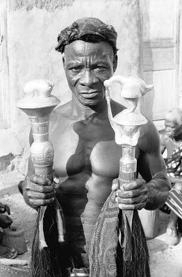 Konan Yao, a Baule sculptor at work, Yagolikro village, Ivory Coast, [negative]