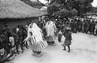 Kple Kple masks dancers during a Goli performance, Kondeyaokro village, Ivory Coast, [negative]